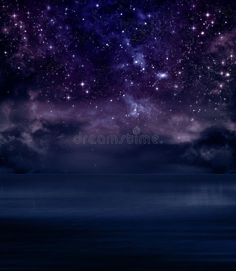 Sterrige hemel in de open zee stock illustratie