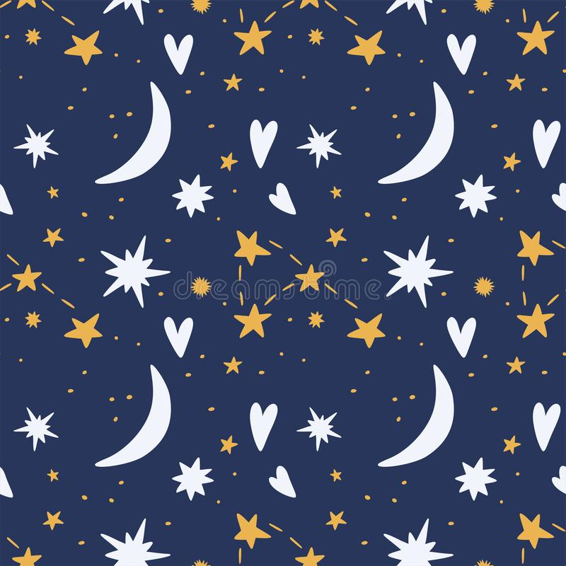 Sterrige hemel met harten en maan naadloos patroon vector illustratie