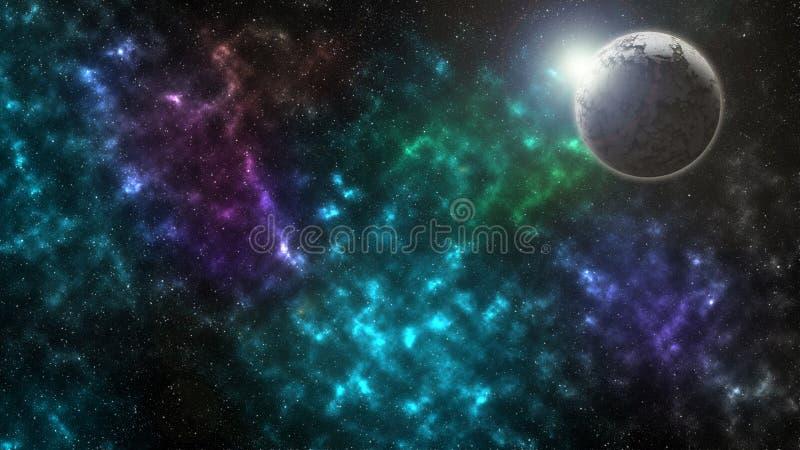 Sterrige kosmische ruimtetextuur als achtergrond De zon is achter de dode planeet stock foto