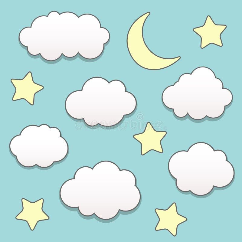Sterrige nacht met maan en wolken vector illustratie