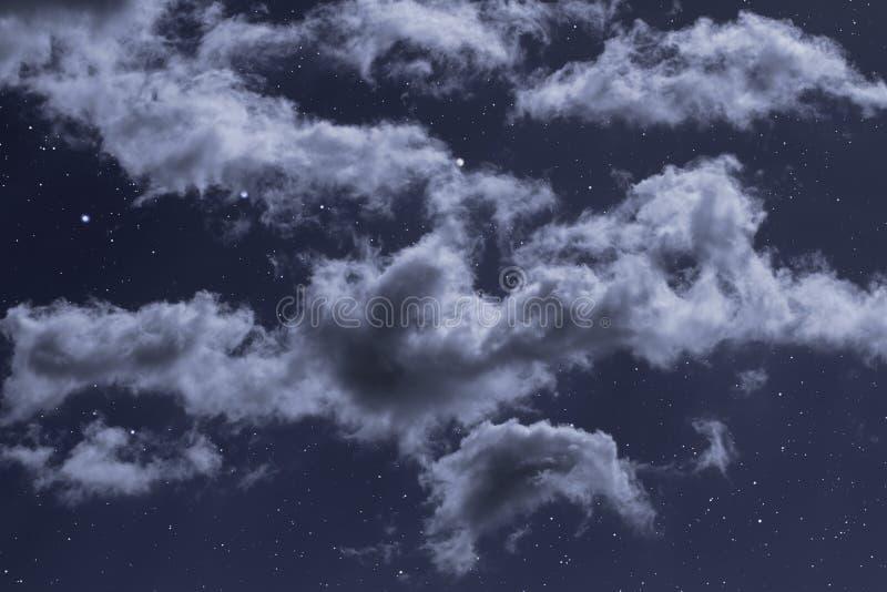 Sterrige nacht met wolken royalty-vrije stock fotografie