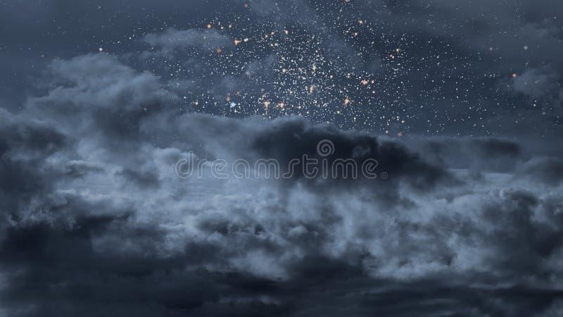 Sterrige nacht met wolken royalty-vrije stock afbeeldingen