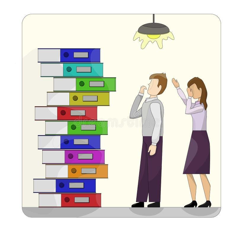 Sterta barwić kartonowe falcówki obok pary pracownicy w despondency ? Od szkoły, biuro, praca ilustracja wektor