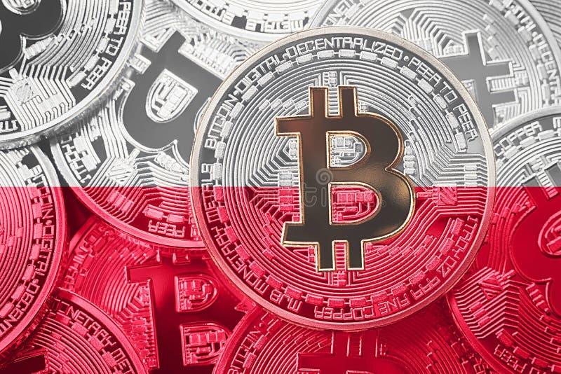 Sterta Bitcoin Polska flaga Bitcoin cryptocurrencies pojęcie zdjęcia royalty free