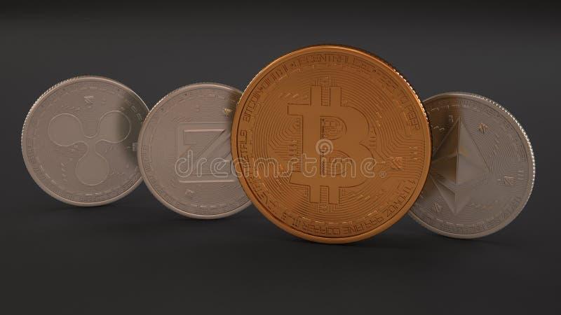 Sterta cryptocurrencies na monetach, czochrze, Zcoin, Etherium i złotym Bitcoin ciemnych tła, platyny badania lekarskiego, Górnic royalty ilustracja