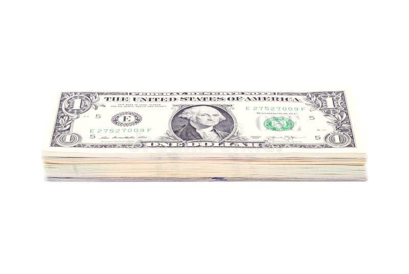 Sterta dolarów amerykańskich rachunki z 1 dolarem na wierzchołku zdjęcie stock