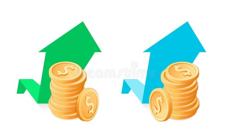Sterta dolar monety na wzrostowym wykresu tle ilustracja wektor