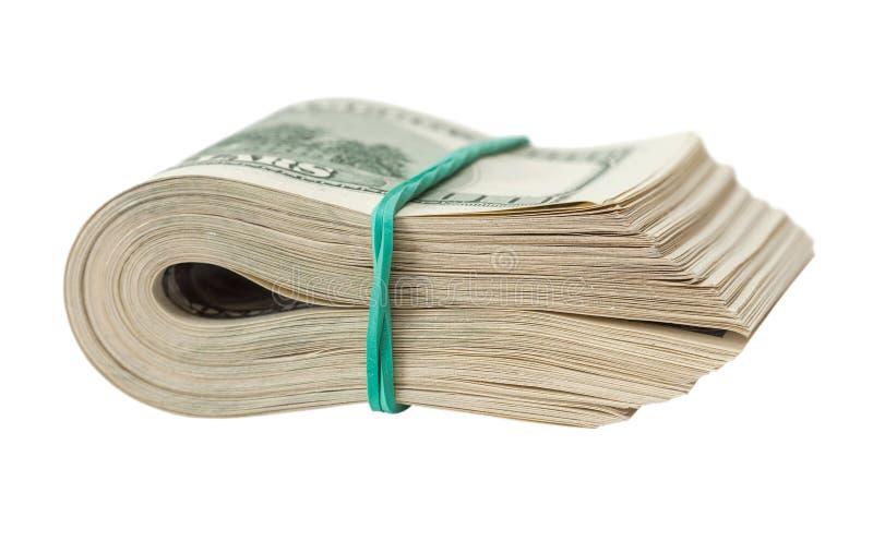 Sterta dolarowi rachunki zawijający gumą zdjęcie stock