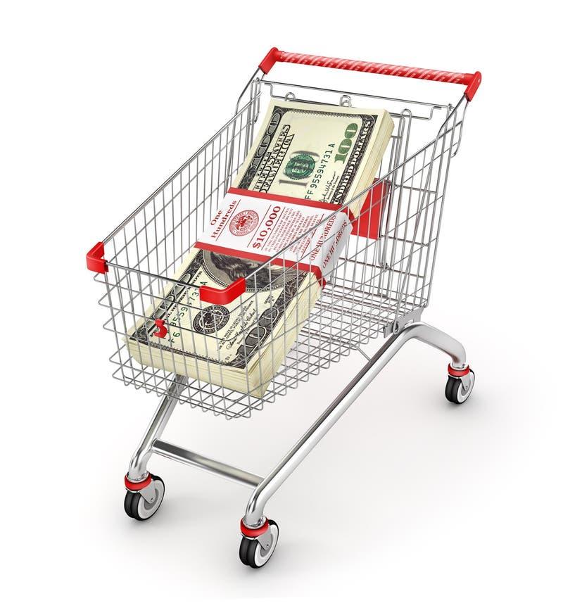 Sterta dolary w wózek na zakupy Pieniądze tramwaj ilustracja wektor