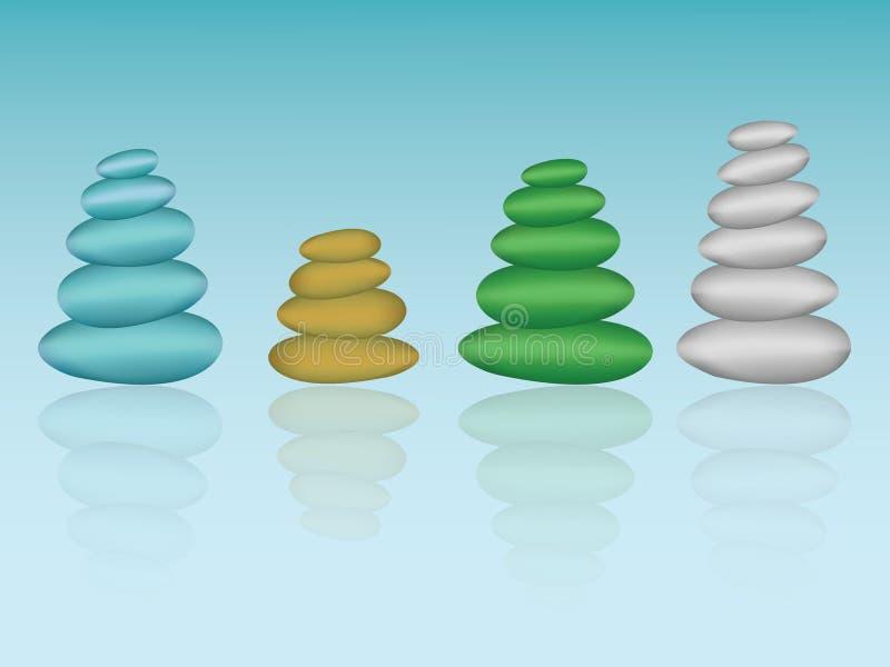 Sterta kolorowi otoczaki na błękitnym tle show biznes przyrost i podnosi puszek ilustracja wektor