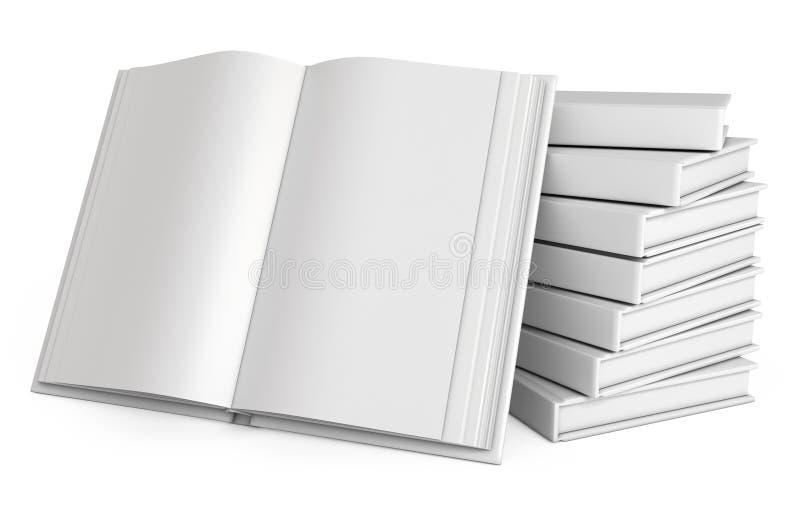 Sterta książki. Otwiera białą książkę ilustracja wektor