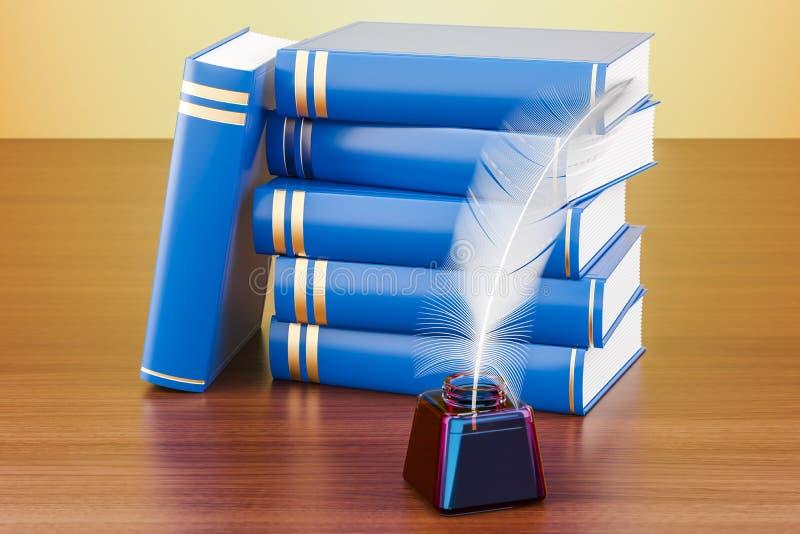 Sterta książki z piórka i atramentu butelką na drewnianym stole, royalty ilustracja