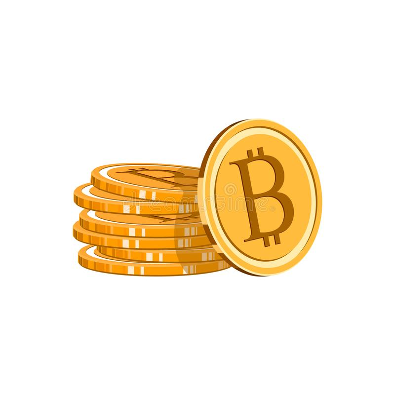 Sterta monety bitcoin Złota Bitcoin cyfrowa waluta Złocista sterta bitcoins cryptocurrency monety kolonel ilustracji