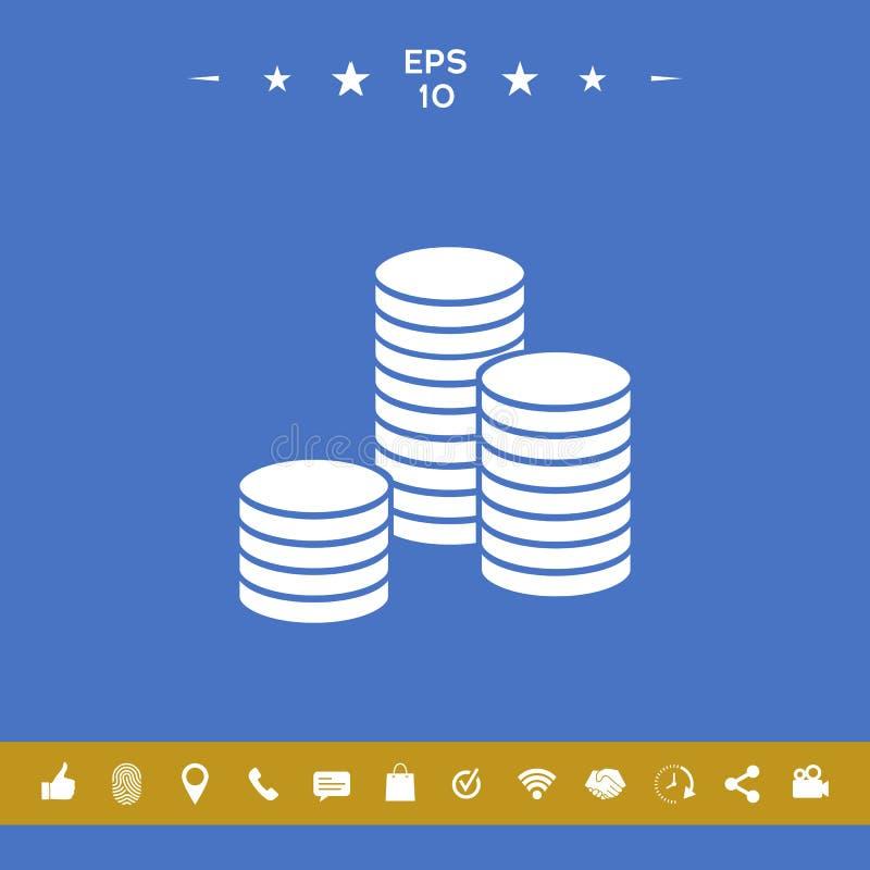 Sterta monety ikona royalty ilustracja