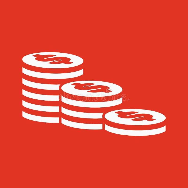 Sterta monety ikona Dolar, pieniądze, moneta, banka symbol mieszkanie ilustracja wektor