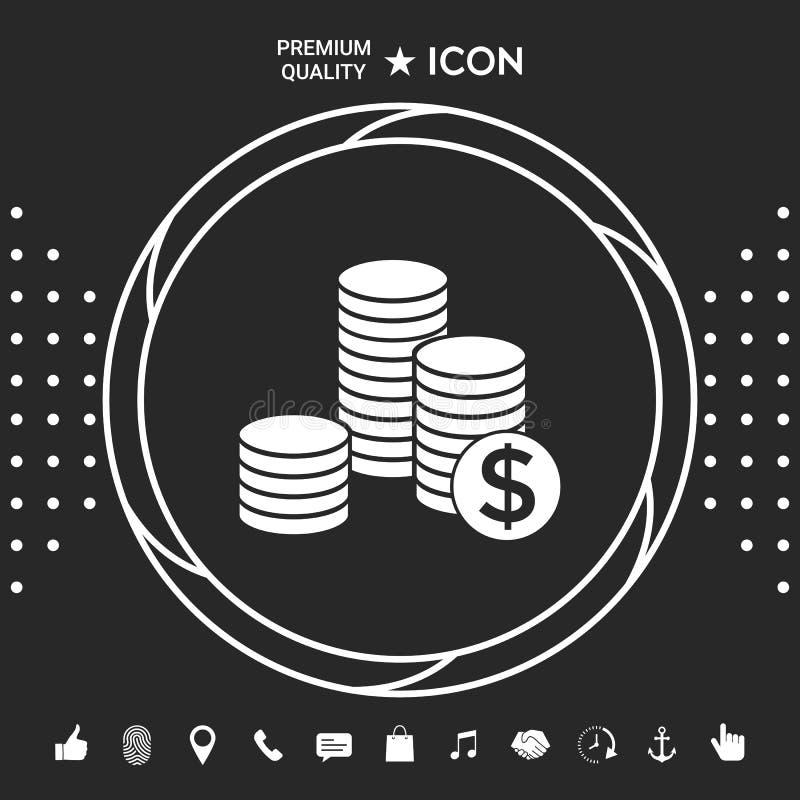 Sterta monety z dolarowym symbolem Graficzni elementy dla twój designt royalty ilustracja