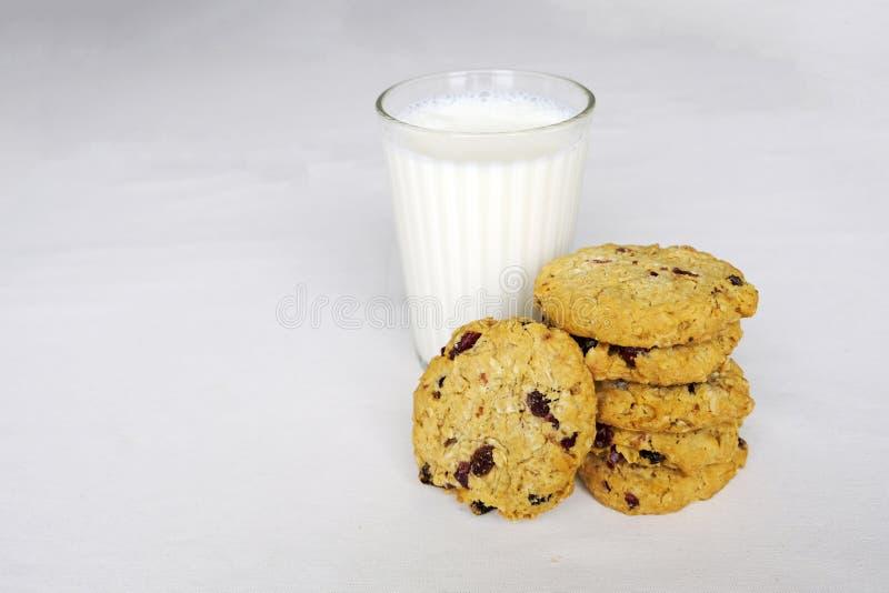 Sterta owsy, cranberry wholewheat ciastka i szkło mleko na białym tle kosmos kopii zdjęcia stock