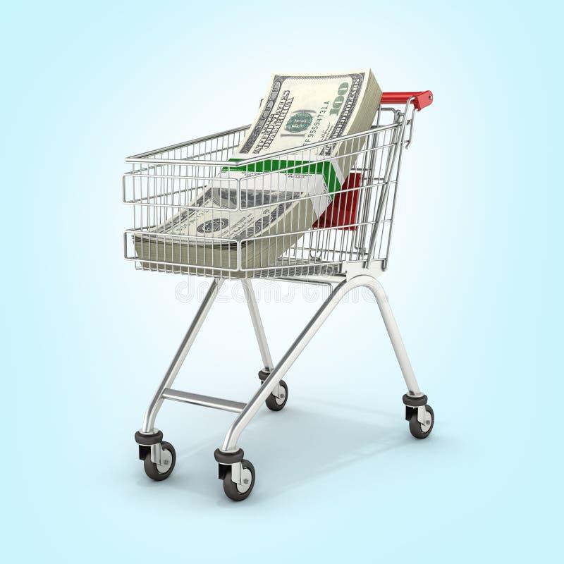 Sterta pieniądze amerykanina sto dolarowi rachunki w zakupy tramwaju na błękitnym gradientowym tle 3d ilustracja wektor