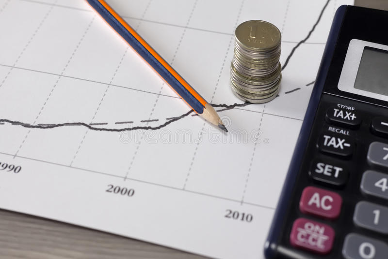 Sterta pieniądze monety z wykresu papierem, ołówek, kalkulator obrazy royalty free