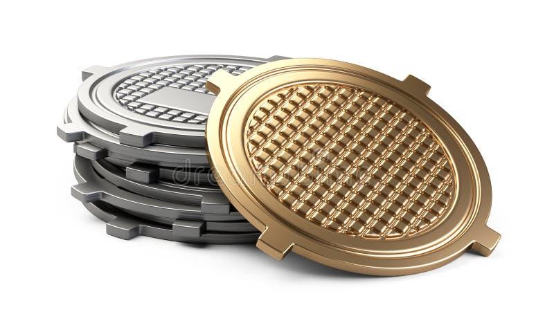 Sterta pokrywy dla ściekowego manhole - jeden złota nakrętka royalty ilustracja