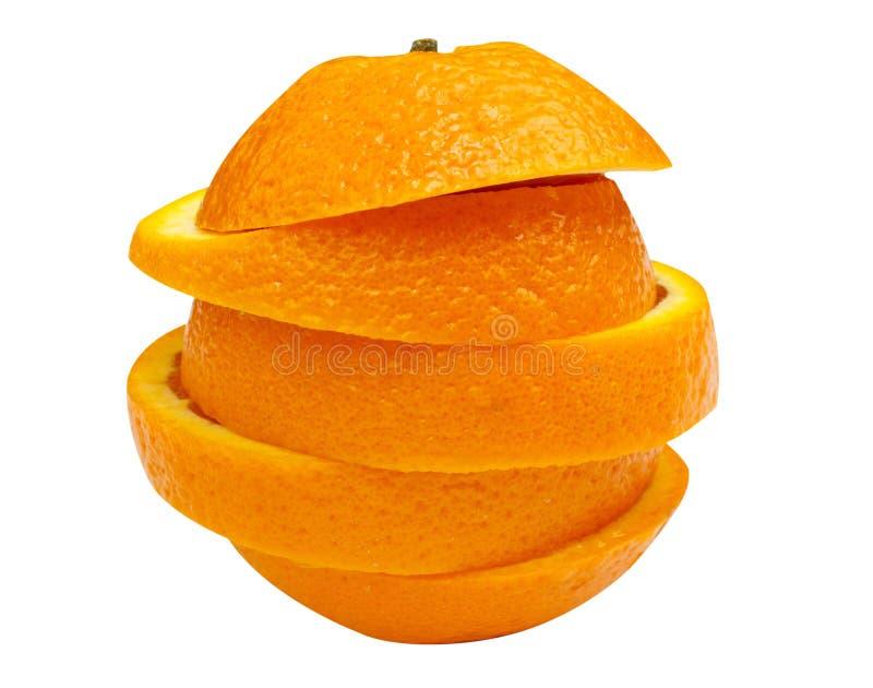 Sterta pomarańcze plasterki odizolowywający na białym tle zdjęcie stock