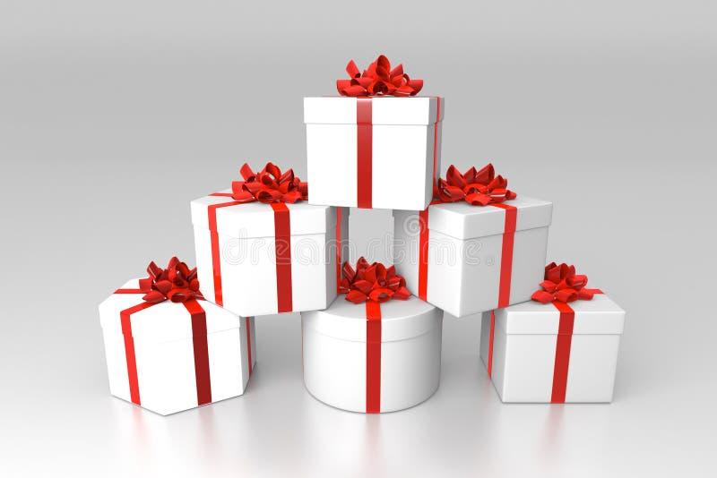 Sterta prezentów pudełka ilustracja wektor