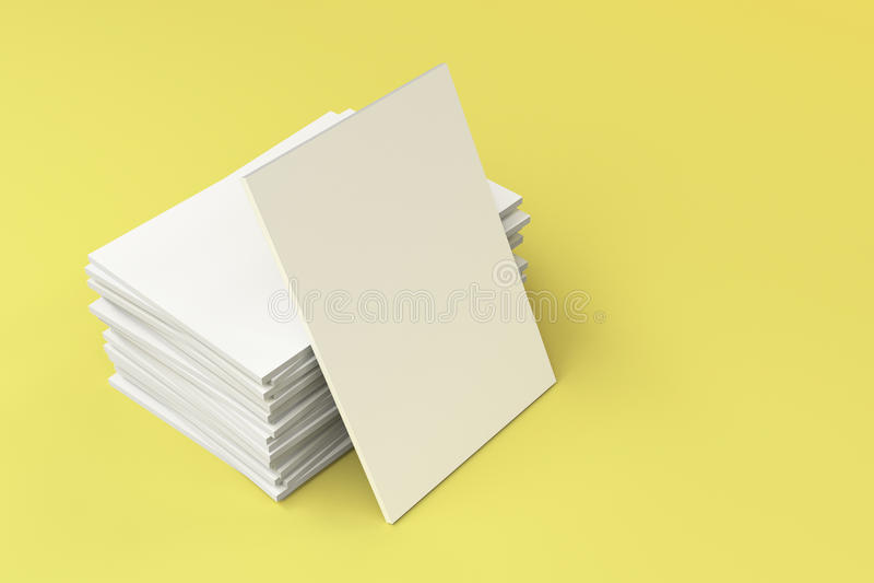 Sterta pusty biały zamknięty broszurka egzamin próbny na żółtym tle royalty ilustracja