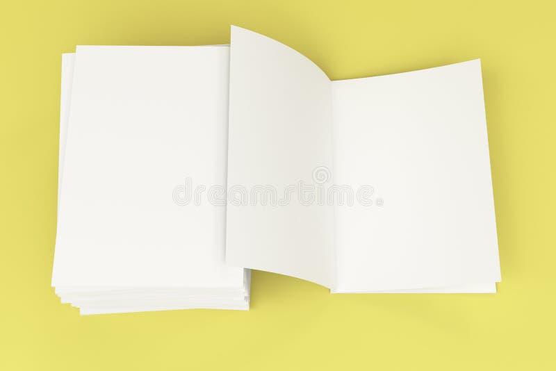 Sterta pusty bielu zamykający i jeden otwarty broszurka egzamin próbny na żółtym backgroun ilustracja wektor