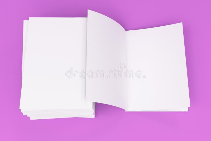 Sterta pusty bielu zamykający i jeden otwarty broszurka egzamin próbny na fiołkowym backgroun ilustracja wektor