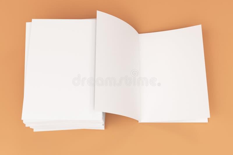 Sterta pusty bielu zamykający i jeden otwarty broszurka egzamin próbny na pomarańczowym tle ilustracja wektor