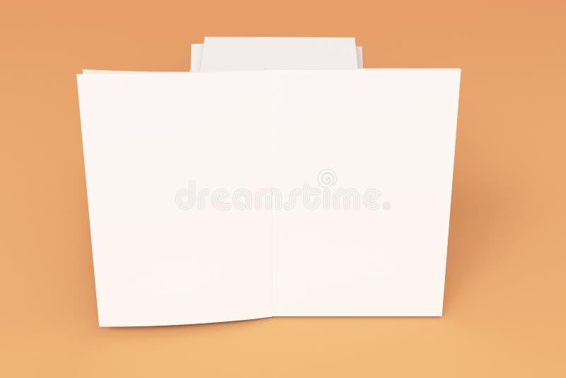 Sterta pusty bielu zamykający i jeden otwarty broszurka egzamin próbny na pomarańczowym tle royalty ilustracja