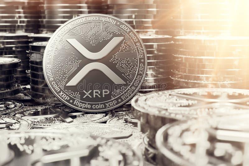 Sterta srebne czochry XRP monety w rozmytym zbliżeniu z obiektywu racą jako symbol dobrobyt świadczenia 3 d ilustracja wektor