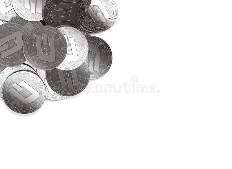 Sterta srebne junakowanie monety w lewym kącie odizolowywającym na bielu i kopii przestrzeni dla twój teksta ilustracji