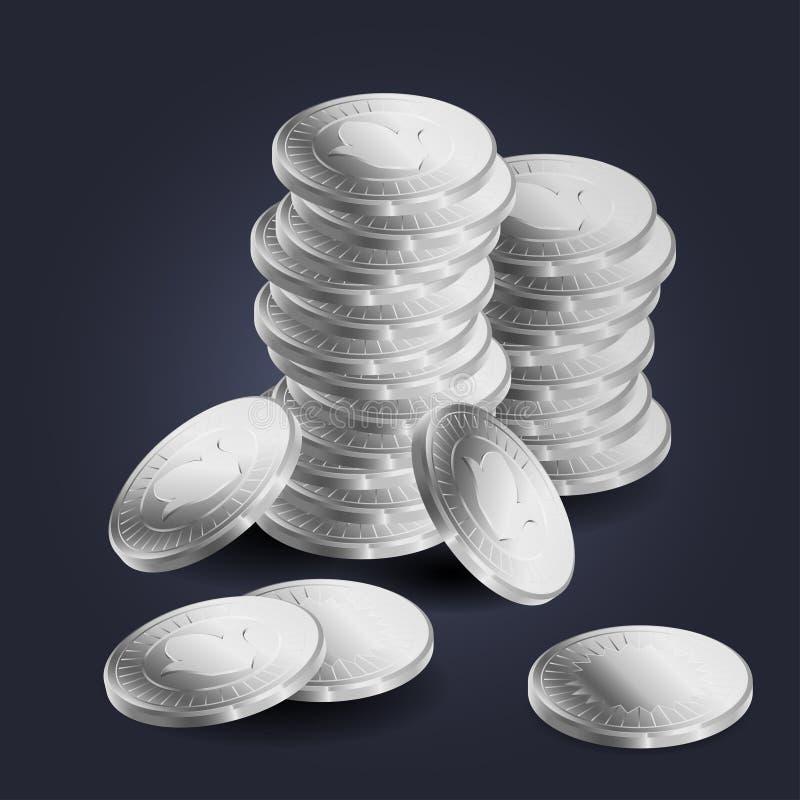 Sterta srebne monety royalty ilustracja
