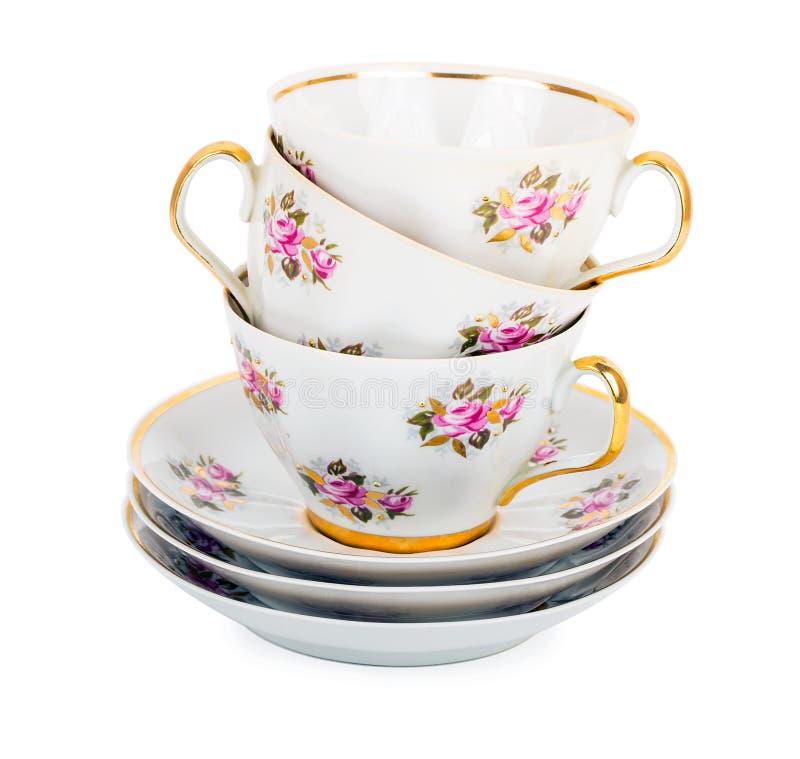 Sterta teacups z spodeczkami fotografia royalty free