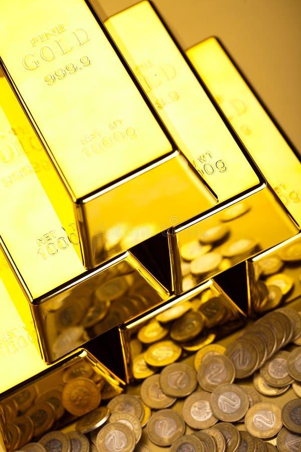 Sterta złociści bary, nastrojowy pieniężny pojęcie obrazy stock