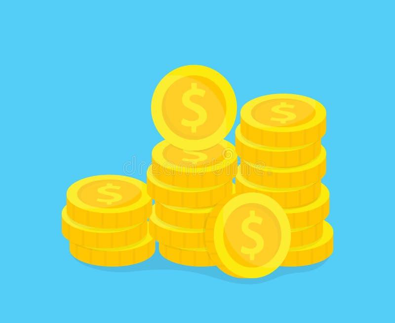 Sterta z?ocistych monet wektoru ilustracja Pojęcie oszczędzanie, darowizna, inwestuje płacący ilustrację ilustracja wektor