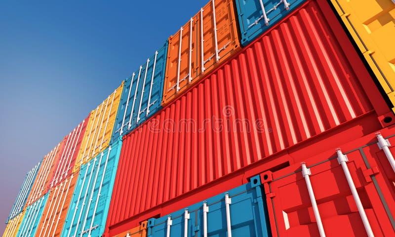 Sterta zbiorniki boksuje, ładunków zafrachtowań statek dla importa eksporta bu obrazy royalty free