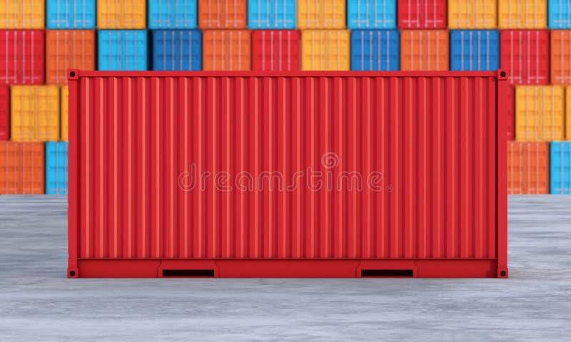 Sterta zbiorniki boksuje, ładunków zafrachtowań statek dla importa eksporta bu royalty ilustracja