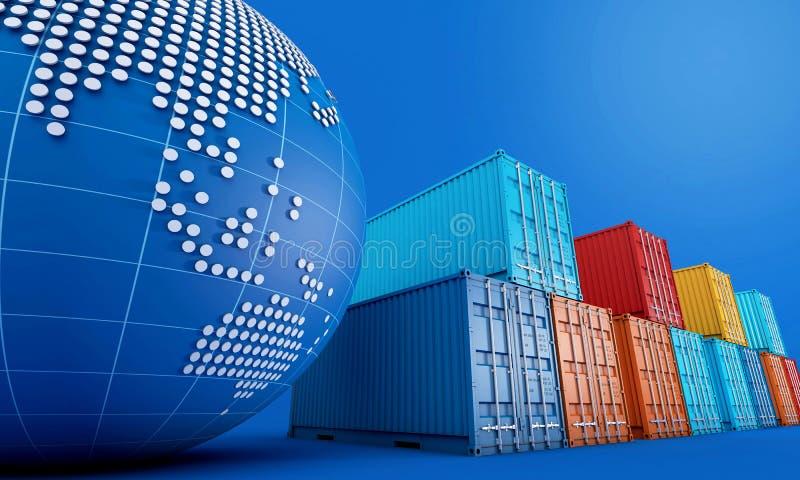 Sterta zbiorniki boksuje importowy eksportowy biznes, na całym świecie ilustracji