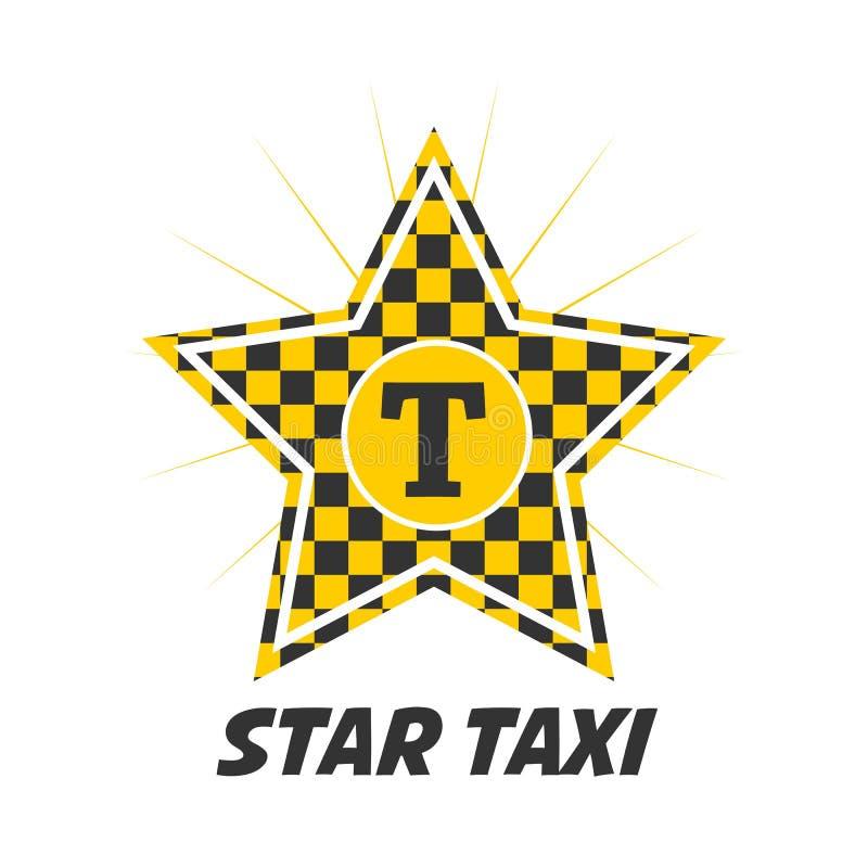 Stertaxi logotype met controleur in gele en zwarte kleuren stock illustratie