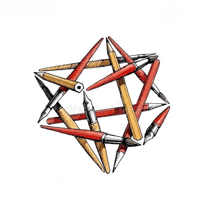 Stertetrageder van de borstels, potloden, pennen - kleur royalty-vrije illustratie