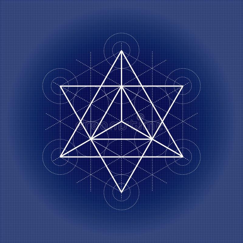 Stertetrageder van Metatrons-kubus, heilige meetkunde vectorillustratie op technisch document stock illustratie