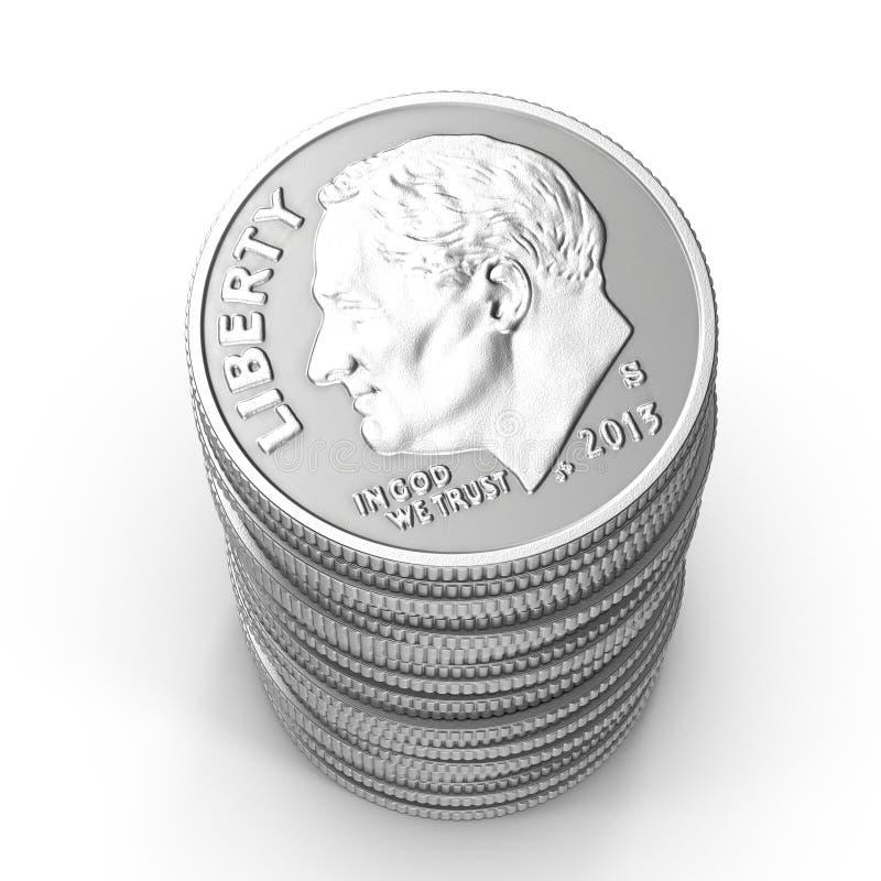 Sterty amerykańskie grosz monety odizolowywać na bielu ilustracja 3 d ilustracji