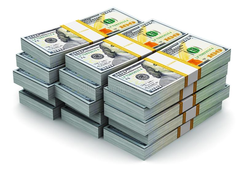 Sterty nowi 100 dolarów amerykańskich banknotów ilustracja wektor