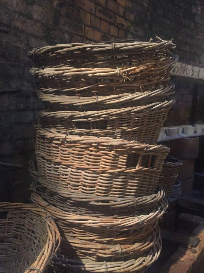 Sterty trzcinowi kosze od xix wiek fotografia royalty free