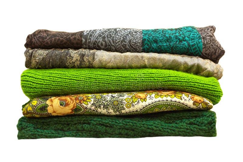 Sterty zimy zieleni ubrania odizolowywający na białym tle obrazy royalty free