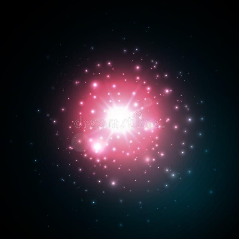 Steruitbarsting met fonkelingen in ruimte Rood gloed lichteffect Uitbarstingsexplosie Vector illustratie vector illustratie