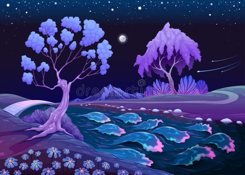 Stervormig landschap met bomen en rivier in de nacht vector illustratie