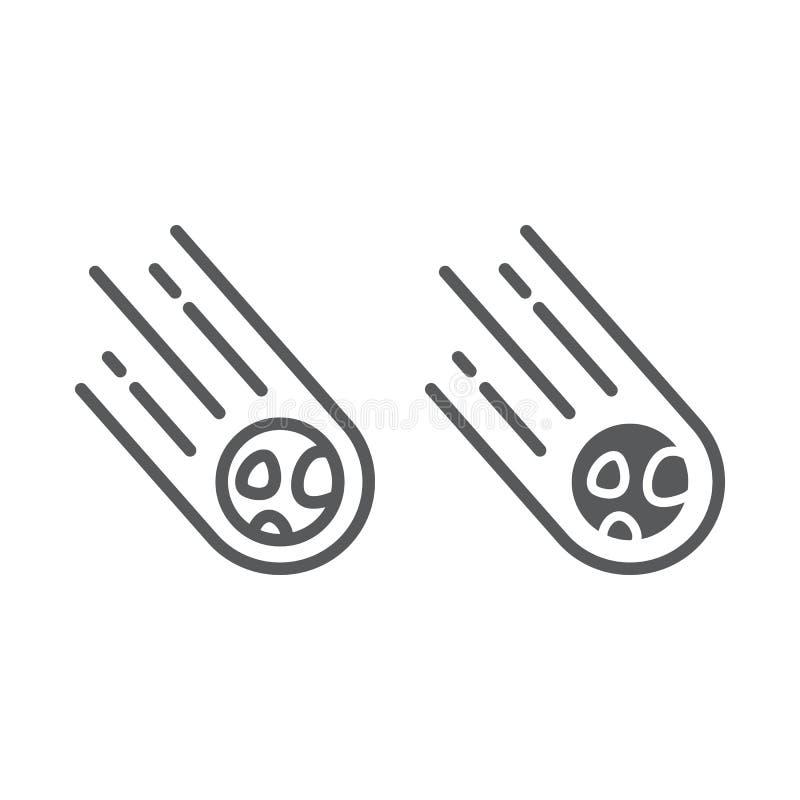 Stervormig lijn en glyph pictogram, ruimte en meteoor, meteorietteken, vectorafbeeldingen, een lineair patroon op een witte achte stock illustratie